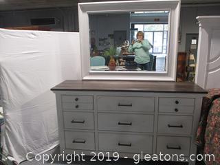 Farmhouse Style 9 Drawer White Dresser with Mirror - New