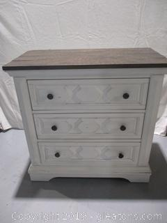 Farmhouse Style 3 Drawer White Chest - New