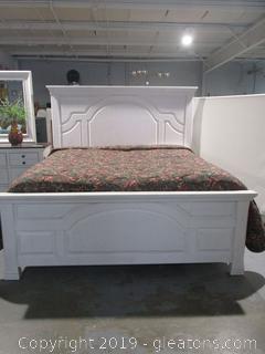 White King Size Farmhouse Bed