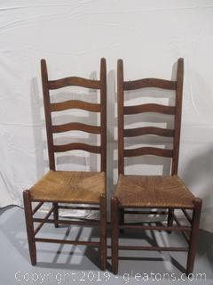 Pair of Ladder Back Chairs with Cane Bottoms