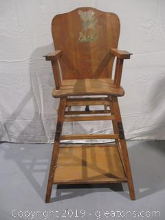Unique Vintage Convertible Wood High Chair Play Table