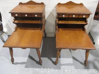 Pair of Vintage Colonial 2 Tier End Tables