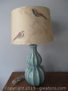 Teal Lamp with Ivory Bird Shade
