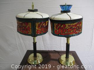 2 Vintage Pepsi Cola Lamps