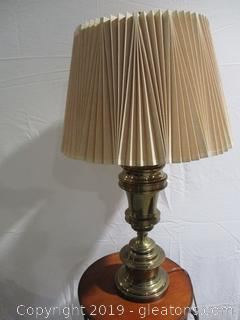 Brass Lamp with Pleated Shade