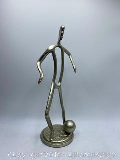 Cast Metal Soccer Player Sculpture