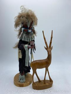 Kokopelli Hand Carved Native Doll with Hand Carved Antilope