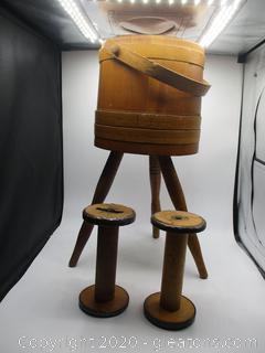 Vintage 3 Legged Wooden Plant Holder & 2 Wooden Spools