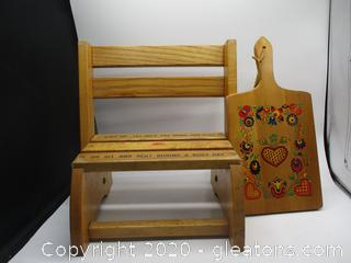 Vintage Child's Stepstool/Seat and Cutting Board