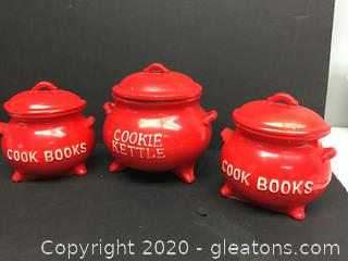Hand Painted Cookie Kettle and Cook Book Kettle Bookends