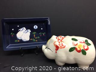 Hand Painted Piggy Bank and Bunny Tray