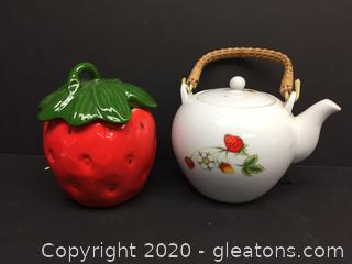 Lefton Lidded Strawberry and Made in Japan Kettle