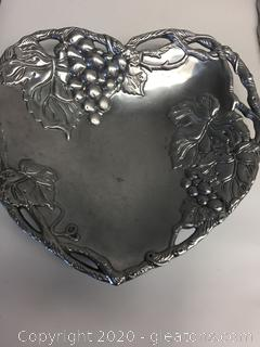 Arthur Court Pewter Grape Collection Heart Coupe Tray