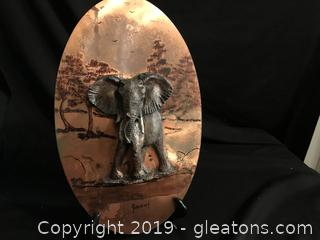 Signed hand painted 3D picture of elephant