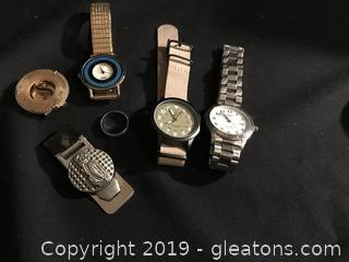 Men's lot, three watches two money clips