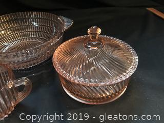 Vintage pink glass bowl, lidded candy dish, sugar bowl