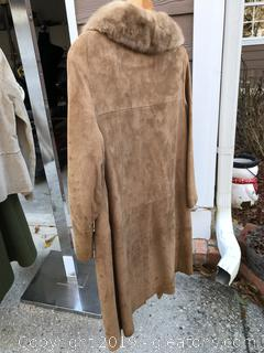 Leather coat with mink collar
