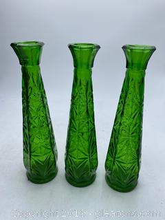 Green Glass Oil Decanters