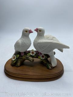 2 Porcelain Doves with Wooden Stand