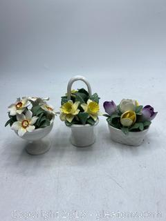 Hand Painted Crown Fine Bone China Flowers Lot A