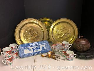 Lot of Asian Mini Tea & Saucers Brass Plates, Bowl Platter
