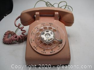 Vintage Rotary Dial Pink Telephone