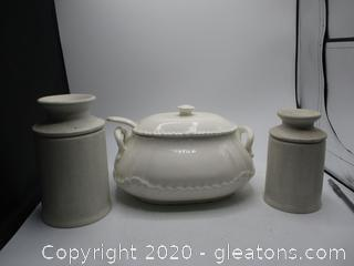 Soup Tureen and 2 Ceramic Canisters with Lids