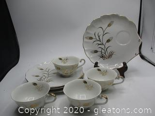 Lefton Luncheon Plate with Cup Set of 4