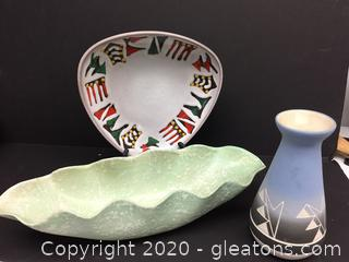 Shawnel Pottery Hand Painted and a Stamped Numbered Hotter Bowl
