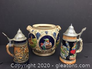 Lot of German Made Steins and Urn
