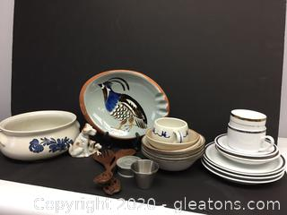 Mixed Lot of Porcelain and Pottery and Handmade