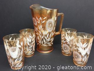 Vintage Carnival Glass Aero Descent Tea Pitcher Set