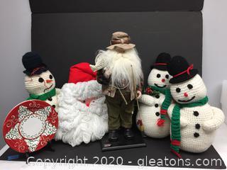 Santa Fisherman Hand Made Christmas Lot and Vietri Plate