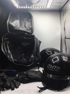 Motorcycle Helmet, Gloves, Glass