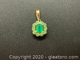 Appraised 14K Yellow Gold Emerald and Green Tourmaline Pendant
