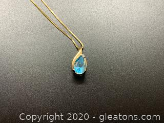 Blue Topaz and 14k Pendant and Necklace