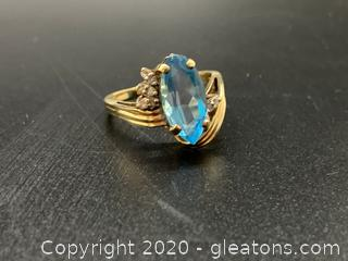 Blue Topaz and Diamond 10K Ring