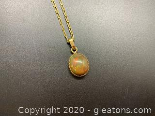 Solid Opal and 14K Pendant and Necklace