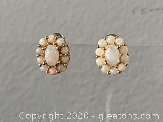 Solid Vintage Opal Earrings Set in 14k Gold