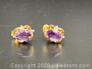 Amethyst and Diamond 14k Earrings
