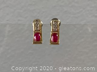 Ruby and Diamond 14K Earrings