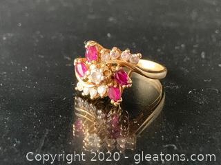 Diamond and Ruby 14K Ring