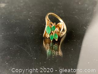 Emerald and Diamond 14k Rings