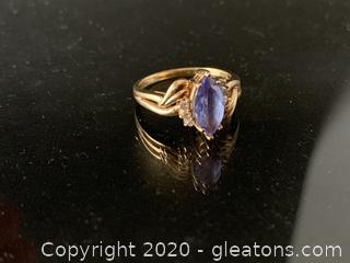 Tanzanite and Diamond 14K Ring