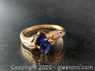 Sapphire and Diamond Ring Set in Yellow Gold