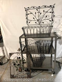 Metal Baskets and Yard Art