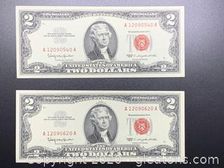 1963 Red Seal Two DOLLAR BILLS Lot of Two