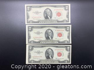 1953 Red Seal Two Dollar Bills Lot of Three