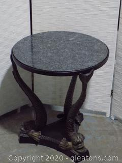Unique Round Black Marble Table with 3 Koi Shaped Legs on Triangular Base