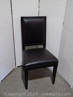 High End Black Leather Dining Room Chair E